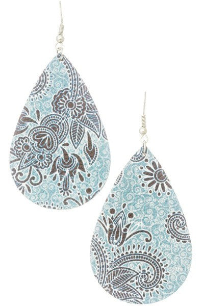 Earring- Leather Teardrop Statement Earrings