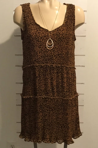 Megan Pleated MIni Dress (Leopard)