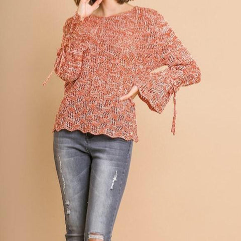 Crochet Knit Bell Sleeve Sweater (Sunset)