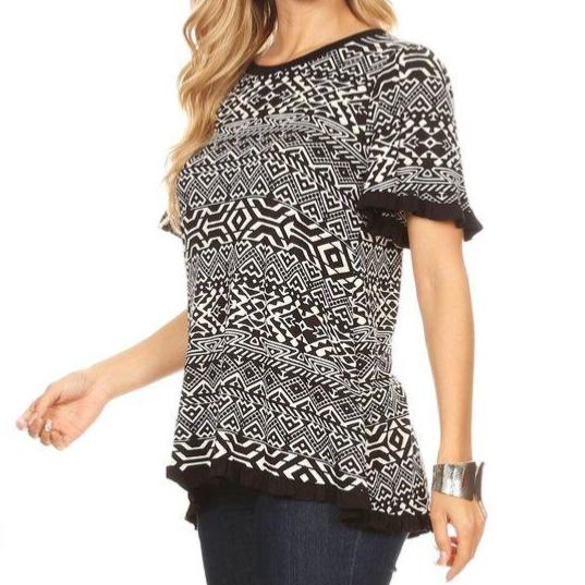 Printed Woven Top (Black/White)