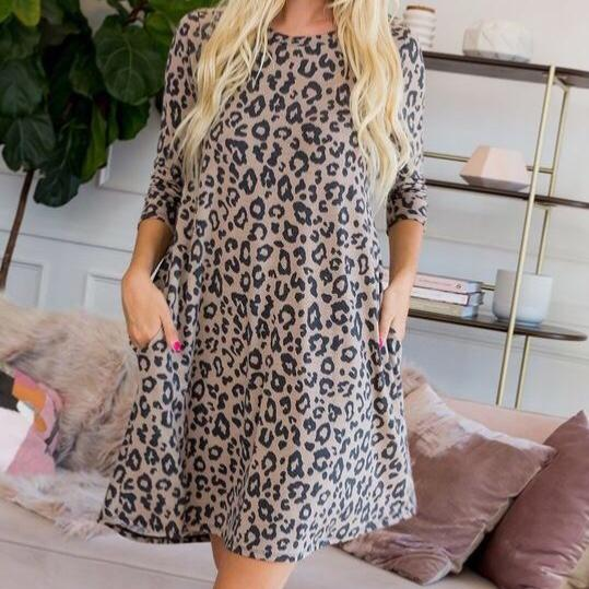 Animal Print Pocket Dress