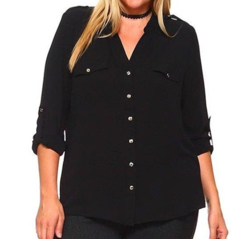 Button Accent Blouse (Black) (Plus)