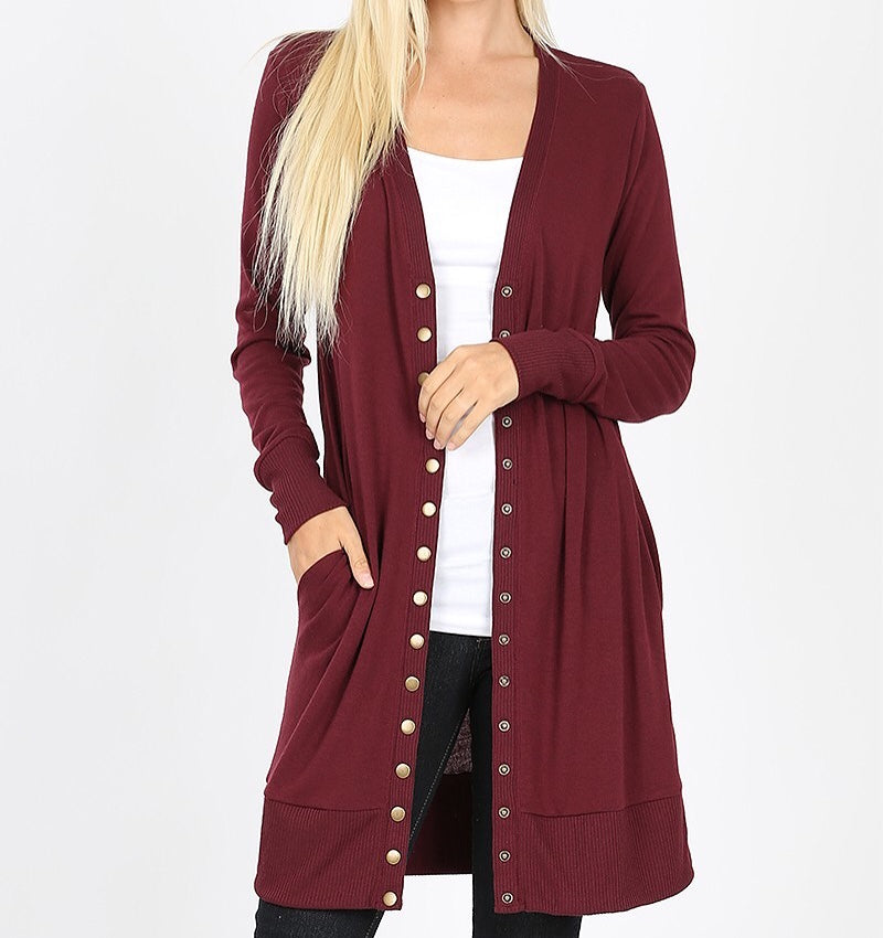 Cardigan - Snap (Long) (Plus Size)