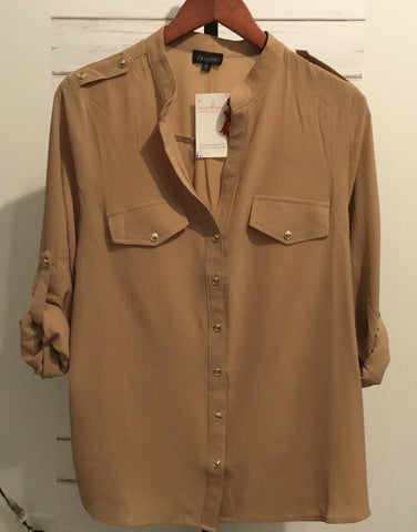 Button Accent Blouse (Tan) (Plus)