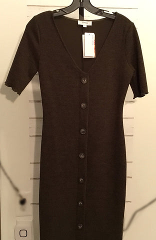 Front Button Knit Dress (Olive)