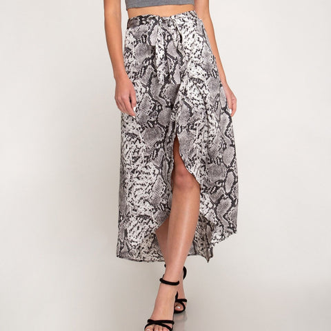High/Low Wrap Skirt  Animal Print