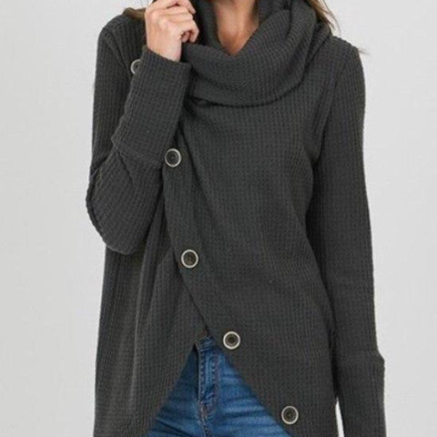 Turtleneck w/Front Button Cascade