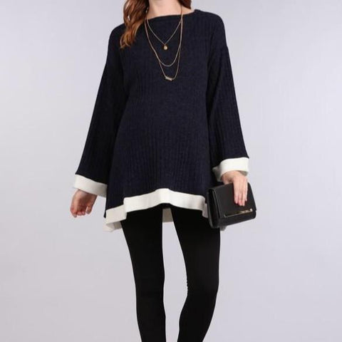 Ribbed Bell Sleeve Top (Navy/White Trim)