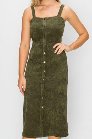 Woven Knit Dress (Olive)