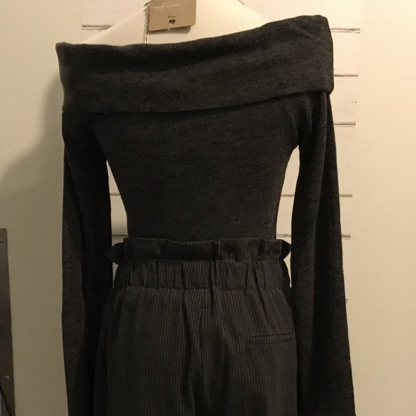 Folded Off Shoulder Hacci Top (Charcoal)
