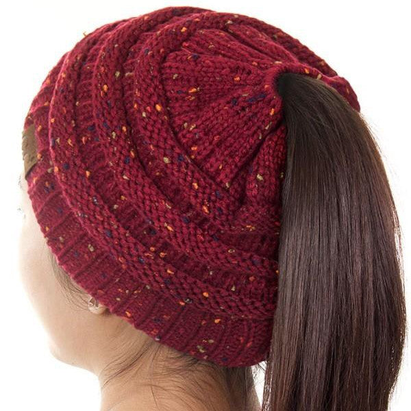 C.C. Cable Knit Beanie (Ponytail)