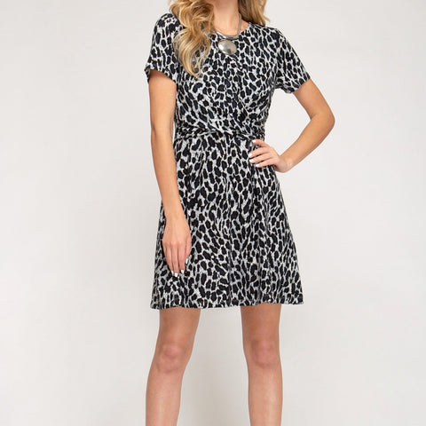 Kylee Skater Dress (Leopard)