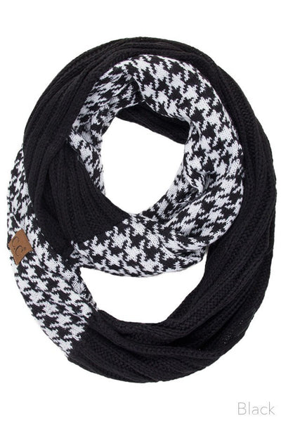 C.C. Cable Knit Houndtooth Infinity Scarf