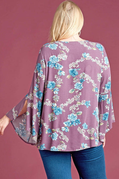 Floral Print Flare Sleeve Top (Eggplant) (Plus)