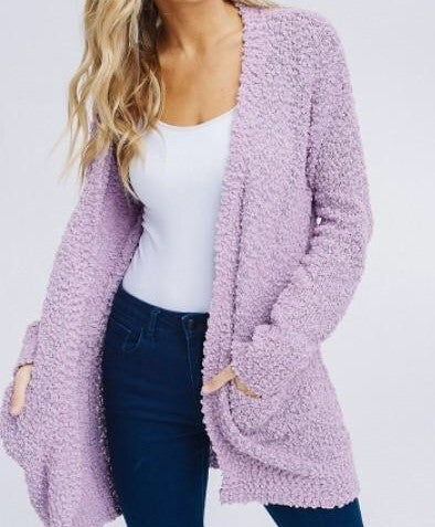 Cardigan - Open Front Knit Cardigan Lilac