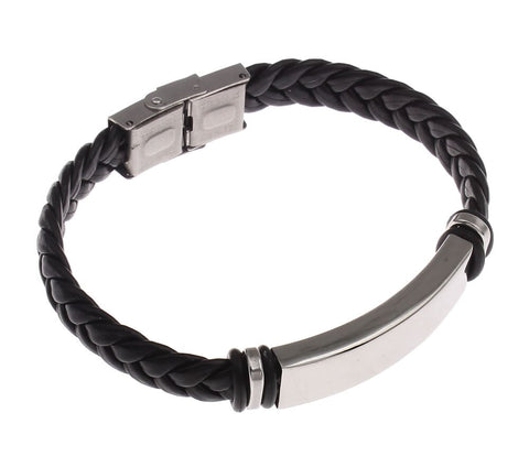 Braided Leather & Stainless Bracelet