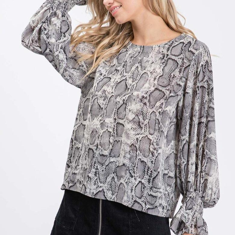 Smocked Cuff Sleeve (Snake Skin) Top