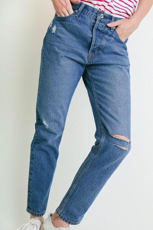 Boyfriend Jeans Light Wash Mid Rise