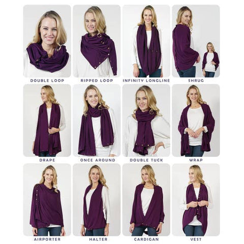 Convertible Snap Scarf (Dark Purple)
