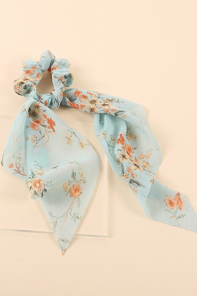 (Short) Printed Ponytail Scarf Scrunch