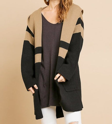 Colorblock Hooded Sweater Jacket