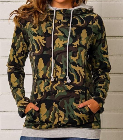 Camo Double Hooded Top