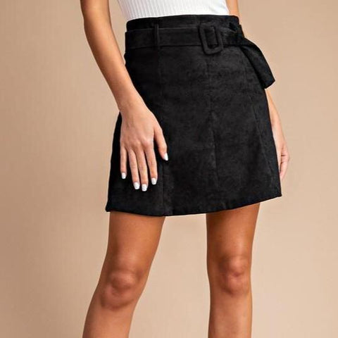 A-Line Belted Mini Skirt (Black)