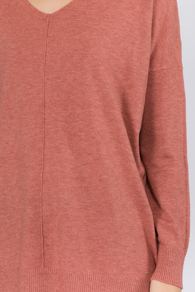 V-Neck Pull Over Sweater (Heather Colors)