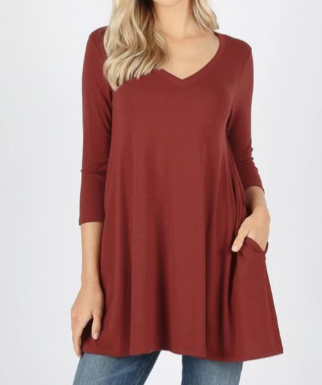 Flared V-Neck Top (Fire Brick Red)