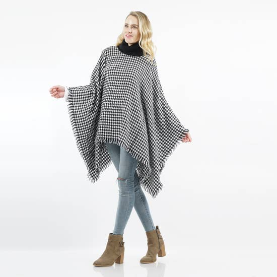 Turtle Neck Houndstooth Poncho