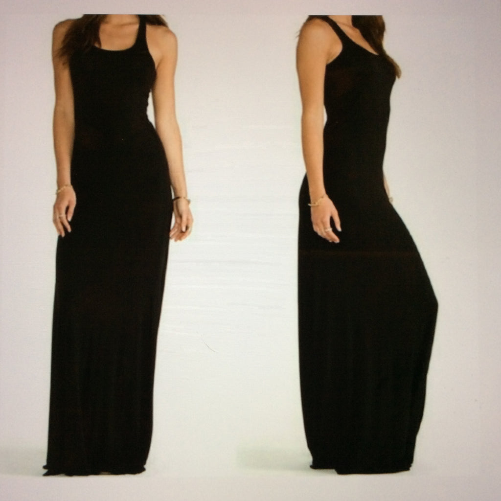 Racer Back Maxi Dress- Black