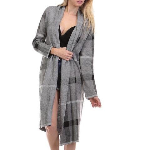 Cardigan - Maxi Gray Plaid Cardigan