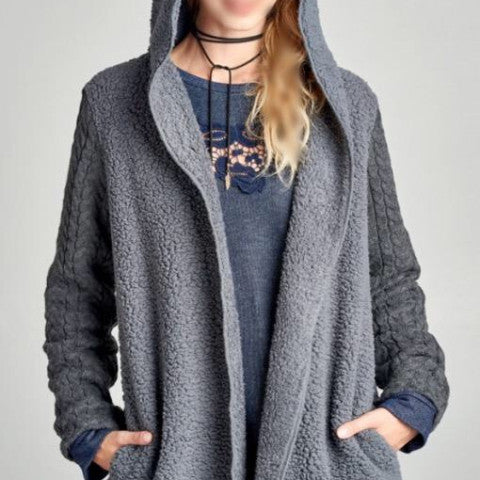 Plush Hooded Cardigan/Jacket