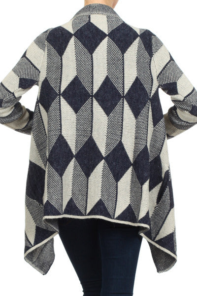 Cardigan - Geometric Print Knitted Cardigan