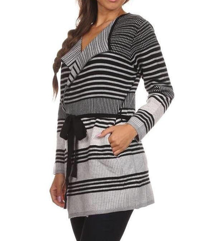 Cardigan - Multi Stripe Wrap Cardigan Sweater