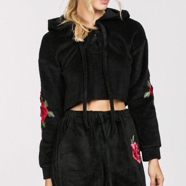 Hooded Top W/Embroidered Sleeves-Black