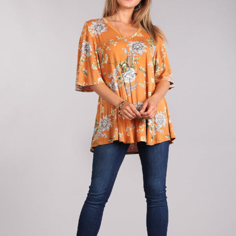 Floral Print Bell Sleeve Tunic - Mustard Color