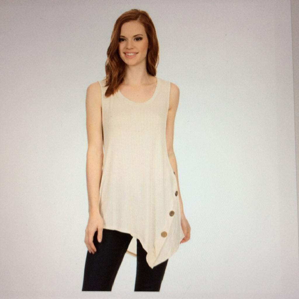 Sleeveless Asymmetrical Tunic- Oyster Color