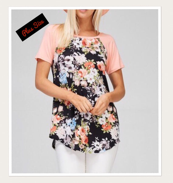 Floral Print with Peach Knit Tunic- Small to 3XL