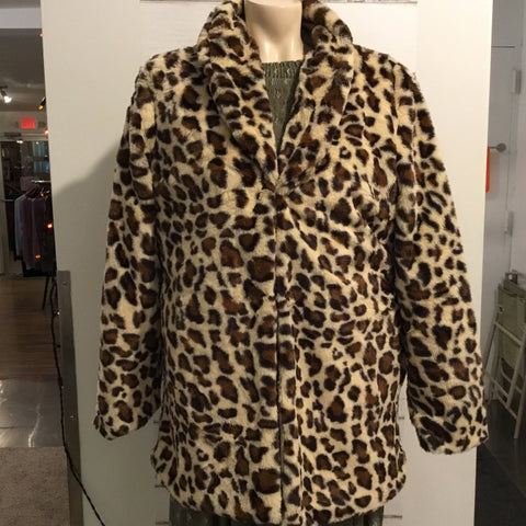 Leopard Faux Fur Jacket w/Pockets