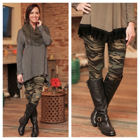 Leggings- Brushed Knit Camo Style