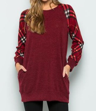 Burgundy Tunic w/Plaid Sleeve Detail