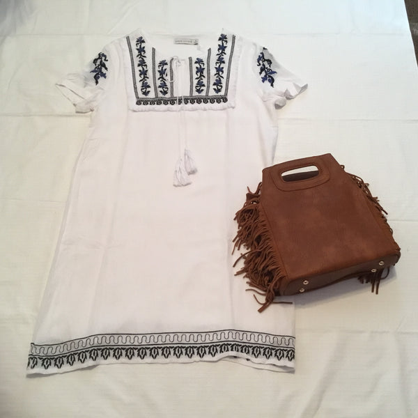 Dress- White with Navy Embroidering Dress