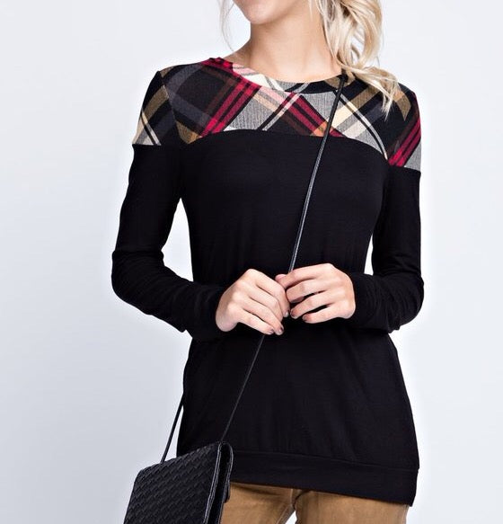 Solid & Multi Color Plaid Top