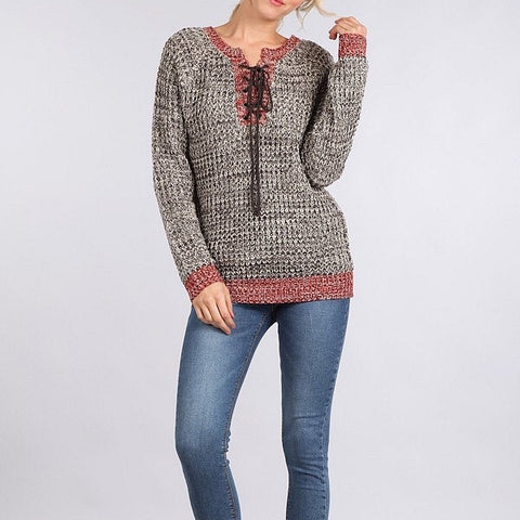 Marled Thick Knit Long Sleeve Sweater