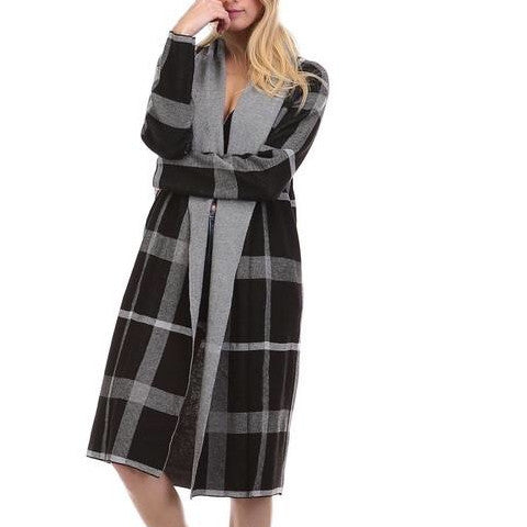 Cardigan - Maxi Black Plaid Cardigan