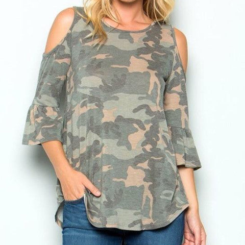 Camouflage Design Cold Shoulder Tunic