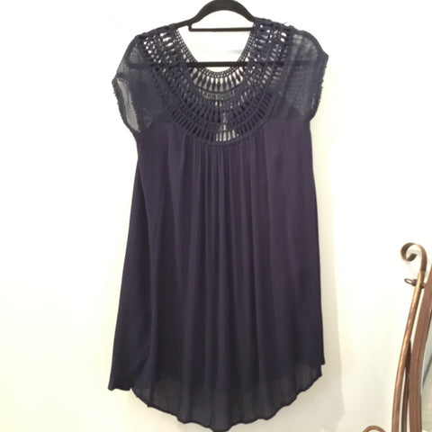 Crochet Neckline Dress (Navy)