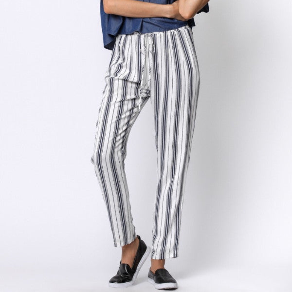 Pants- Navy/White Drawstring Pants