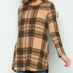 Mocha/Brown Plaid Tunic